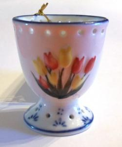 Egg Cup with  Colored Tulips